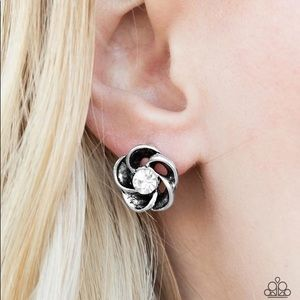 Floral earrings with rhinestone center Paparazzi